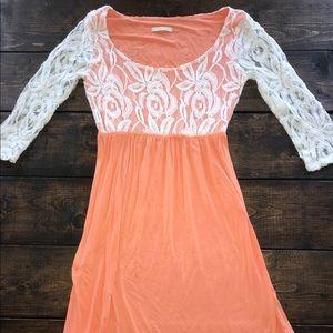 Orange/peach and white lace boutique dress